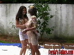 Two lesbians with big boobs having wet and messy outdoor sex