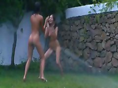slovak chicks watersports in the garden