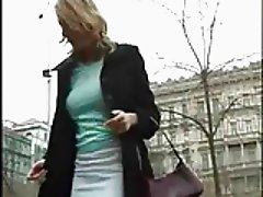 Tall blonde masturbates in public park