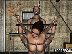 Tied up and hanging 3D cartoon babe gets fucked