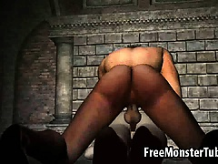 Pale 3D cartoon vampire babe getting fucked hard