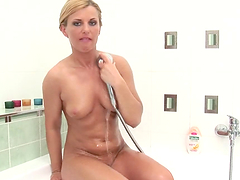 Naked broad fondles herself in the shower