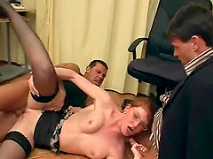 Redhead Secretary Turned Into Slut Has Sex With Two Old Men
