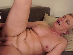 Mature blonde's fucked silly by a stud with a thick cock