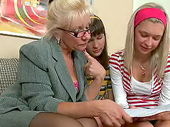 Lesbian Teacher Playing with Two Teen Female Students
