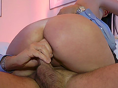 He can't stop fingering and fucking her shaved cunt with his old man meat