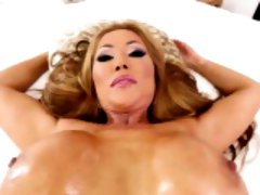 Glamour asian sucks cock and gets facialized