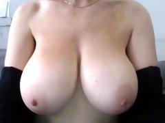 Giant lovely boobs mastubates  no face