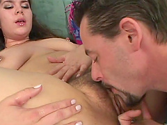 Hot cougar with a hairy pussy enjoying a hardcore missionary style fuck