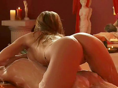Long hair babe with nice ass oiling her guy during massage
