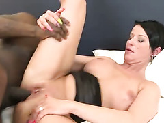 Fuck hungry African dude butt fucks saucy European housewife Michaela in a rough manner