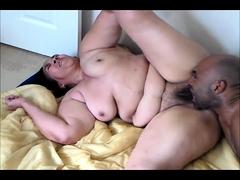 Chunky brunette fucks a big black dick every way she can
