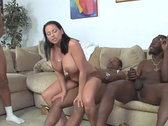 Harley Raines gets her holes torn up in interracial MMF threesome