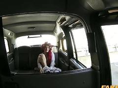 Huge boobs redhead passenger cum sprayed