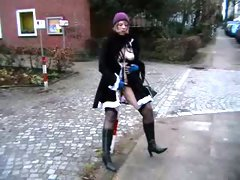 My fluffy German girlfriend exposes her goodies on cold winter day