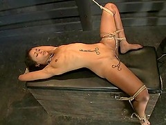 Skin Diamond gets her coochie toyed to a wild orgasm in BDSM scene