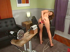 Naughty honey Audrey Leigh is in orgasm by a machine