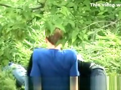 Chinese Girl Sucking Boyfriend in Park