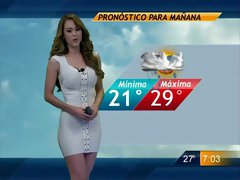 Fantastic lady delivers the weather report in a tight dress