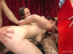 Ample breasted bar singer Bella Rossi is fucked hard by several well endowed dudes