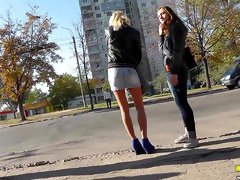 Voyeur likes blonde's hot pantyhose
