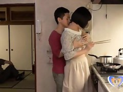 Chinese Cougar Can't Fight Back Him in Home Kitchen
