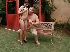 Chubby guy fucking and pissing on sexy girl