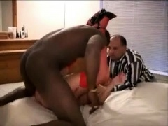 Luscious wife in lingerie enjoys interracial cuckold fucking