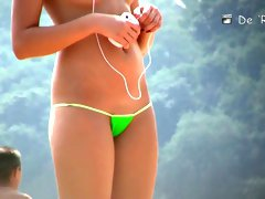 Slender cutie poses for a nudist beach voyeur