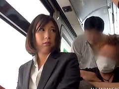 Japanese milf gets fucked by a few strangers in a bus