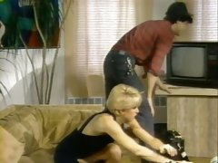 Short haired lean blonde milf on the couch fed with dick and screwed