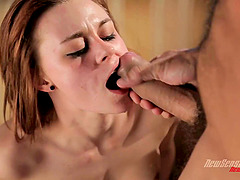 Masturbating beauty joined by her man for erotic fucking
