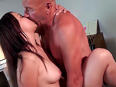 Gorgeous 18 Year Old Fucking And Sucking A Bald Old Man
