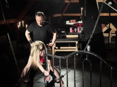 Teen slave finger fucked and spanked in bondage