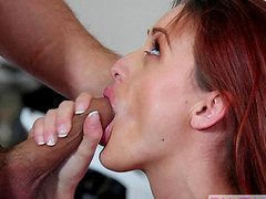 Mesmerizing redhead babe loves the bikes but also the cock!