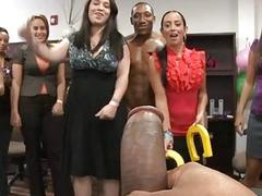 Sexy gals are having joy with sexy male strippers