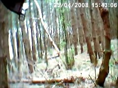 Old and dirty hooker sucking hard dick balls deep in a forest