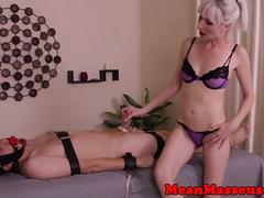 Dominating masseuse tugging and facesitting
