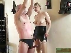 German mistress destroys her tied up mature slave BDSM porn