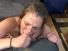 Trashy white garbage blow cock