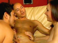 Sweet brunette being drilled by bisexuals