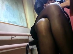 Sensual amateur lady in nylons shows off her fabulous legs