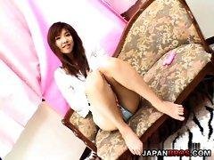 Misaki Inaba shows panties and masturbates