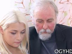 old man has a blonde beauty to play sexually with