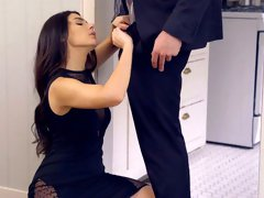 After romantic dinner lovely curvy beauty Alex Legend rides her stud on top