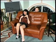 Sexy Russian milf fucks a dildo before enjoying a young cock