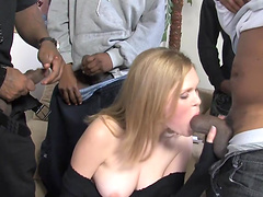 Blonde with big tits gets cumshot after gangbanged by big black cocks