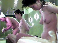Several pair of naked Japanese boobs on the spy shower cam 03256