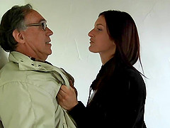 She bends over to take an older man's hard cock from behind