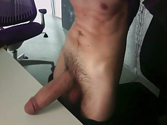 Huge cock on the desk